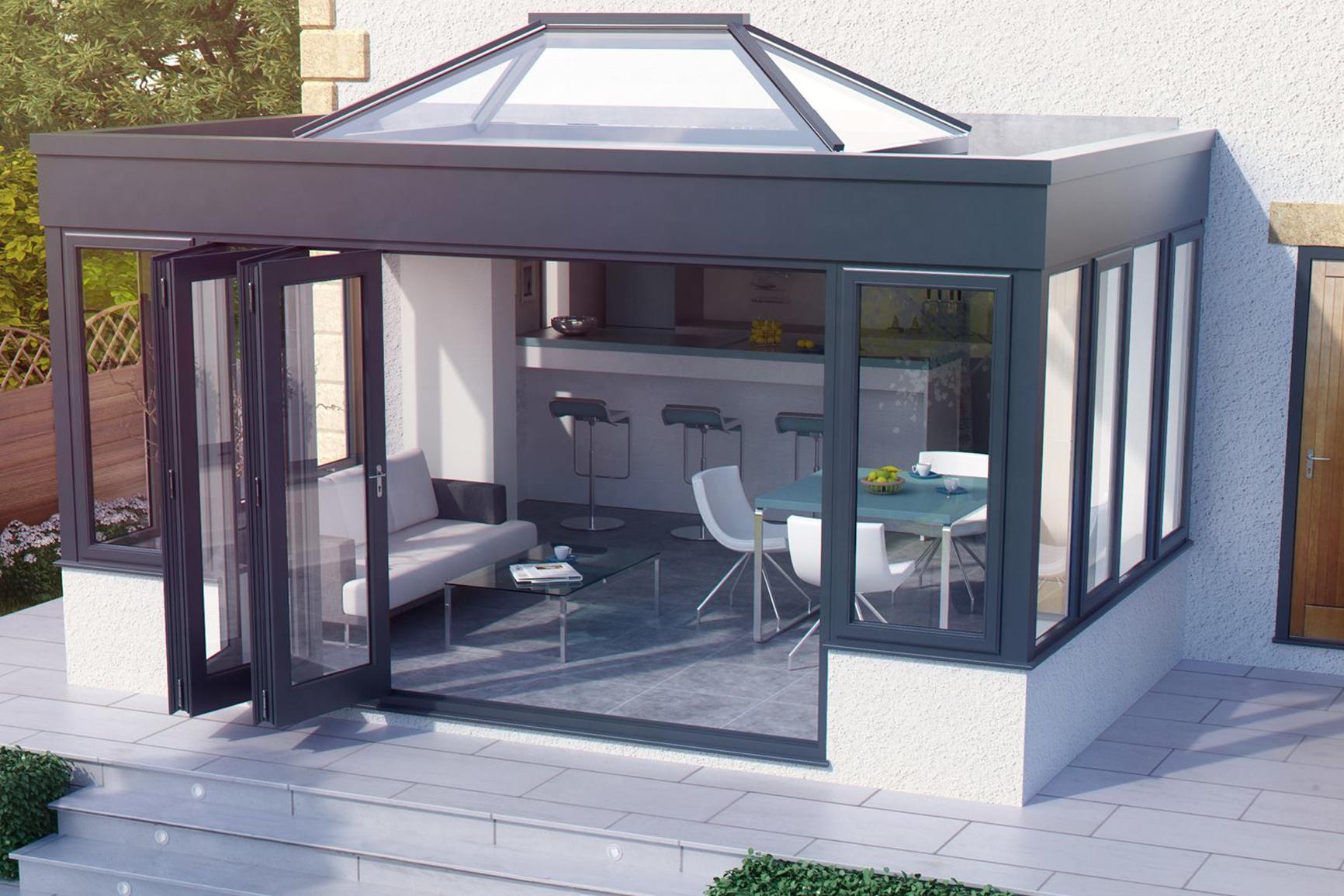 Aluminium Bi folds & Atlas Aluminium Lantern Roof
